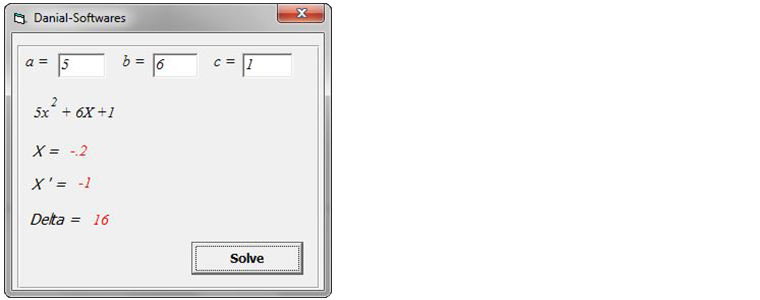 How to Program Quadratic Equations solver (VB)?