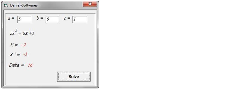 How to Program Quadratic Equations solver (VB)?